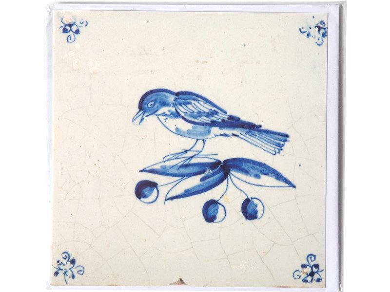 Doppelkarte, Delfter blaue Kachel, Vogel auf einem Ast