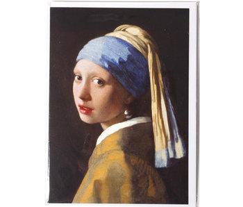 Double carte, Fille avec une boucle d'oreille perle, Vermeer