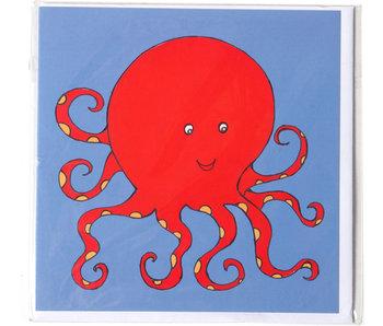 Doble tarjeta, pulpo, H. Simon, ilustración aria