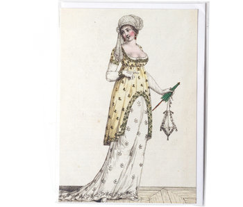 Card, Lady in white-yellow dress with green umbrella