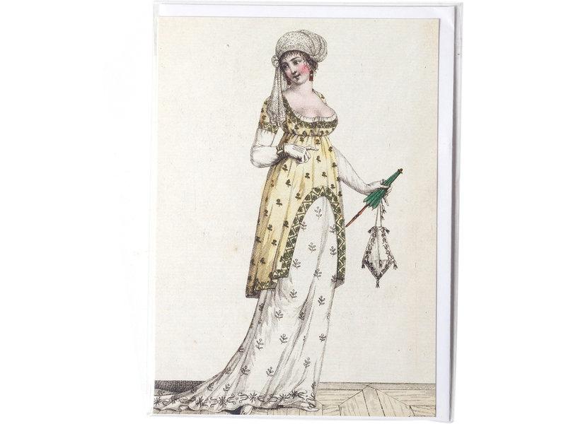 Dubbele kaart, Dame in wit-gele jurk met groene parasol