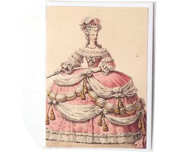 Double carte, Dame en robe rose et blanche