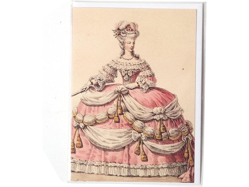 Doppelkarte, Dame in einem rosa und weißen Kleid
