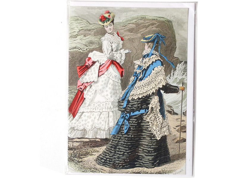 Card, Two ladies at rocky seaside