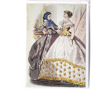 Dubbele kaart, Twee dames in zwart en wit