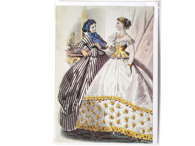 Card, Two ladies in black and white