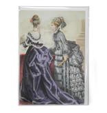 Doppelkarte, zwei Damen in lila und grün