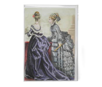 Card, Two ladies in purple and green