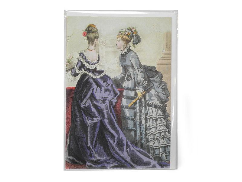 Doble tarjeta, dos damas en morado y verde