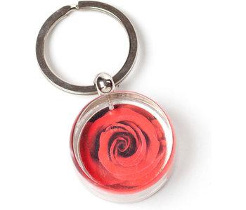 Schlüsselbund in Geschenkbox, rote Rose