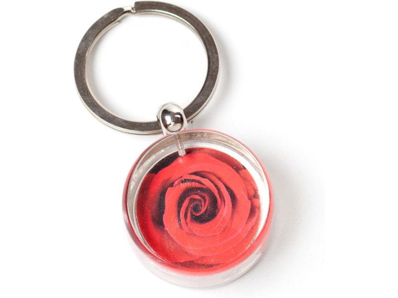 Llavero en caja de regalo, rosa roja