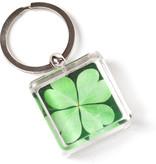 Schlüsselring in Geschenkbox, vierblättriges Kleeblatt