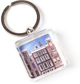 Llavero en caja de regalo, casas de Amsterdam