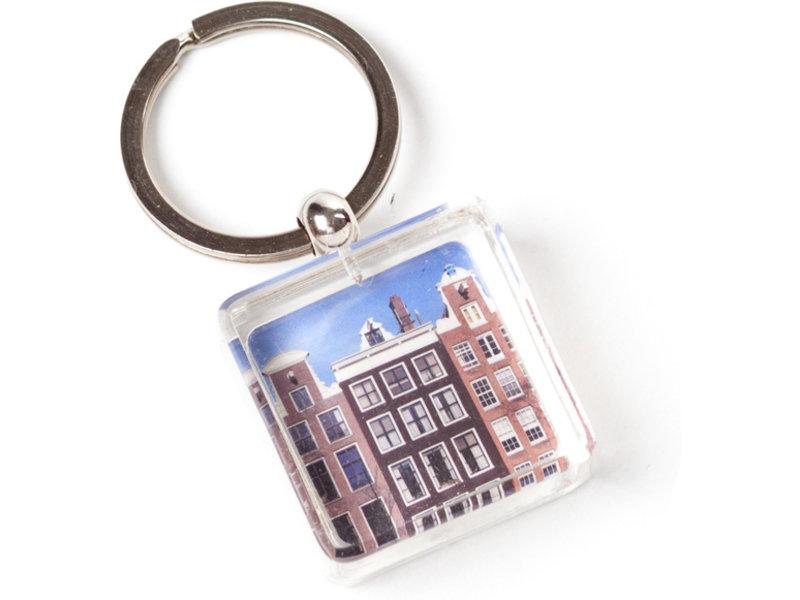 Porte-clés dans une boîte cadeau, maisons d'Amsterdam