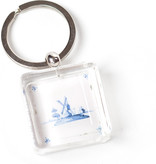 KeyRingz in giftbox W, Delft Blue Tile,Windmill