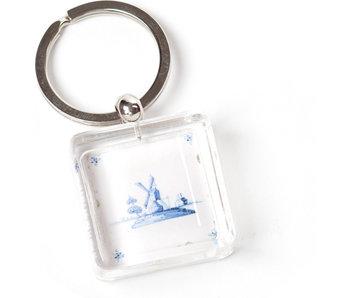 Porte-clés dans une boîte cadeau, tuile bleue de Delft, Moulin