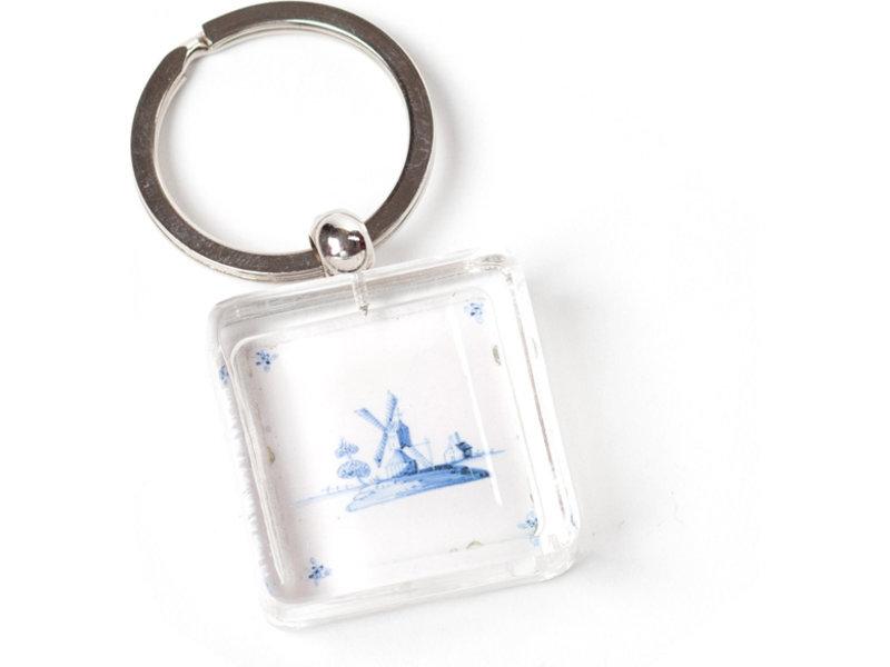 Schlüsselbund in Geschenkbox, Delfter blaue Fliese, Mühle