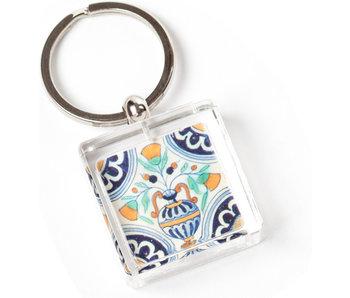 Sleutelhanger in geschenkverpakking, Delfts blauwe tegel, Bloemenvaas Polychroom