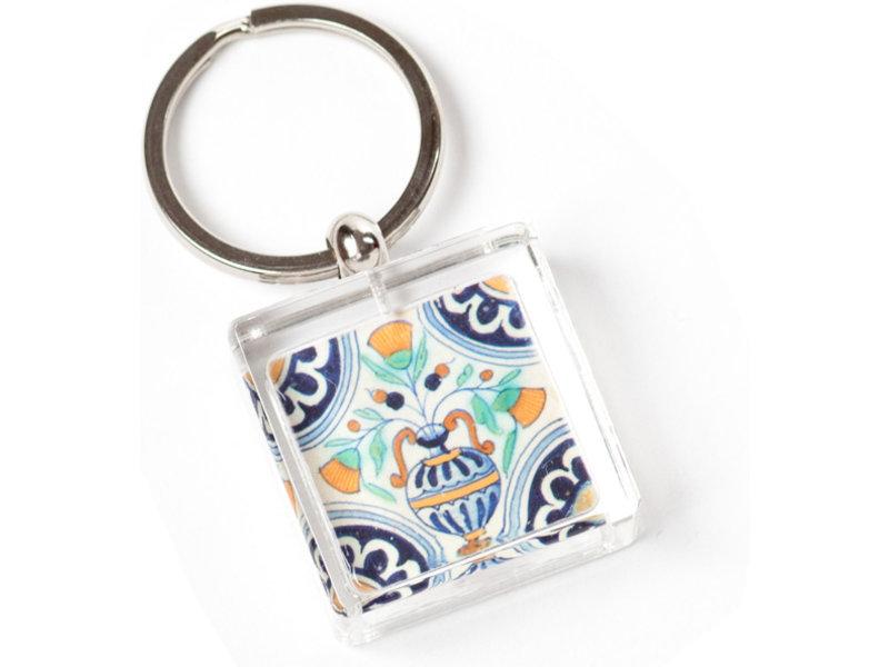 Llavero en caja de regalo, azulejo azul de Delft, florero policromado