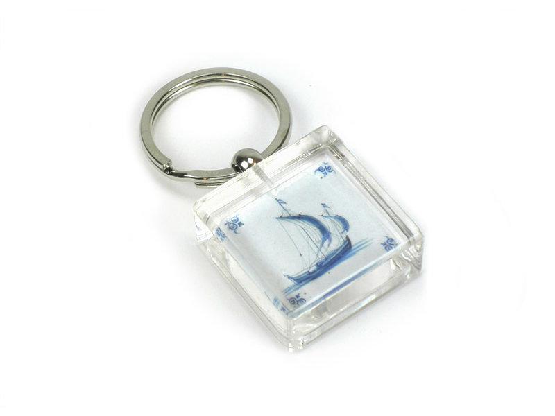 Sleutelhanger in geschenkverpakking, Delfts blauwe tegel, Zeilschip