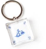 Llavero en caja de regalo, azulejo azul de Delft, patines de hielo