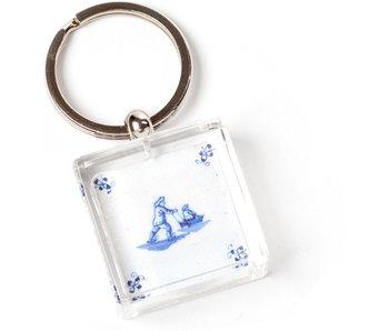 Porte-clés dans une boîte cadeau, carrelage bleu de Delft, patins à glace