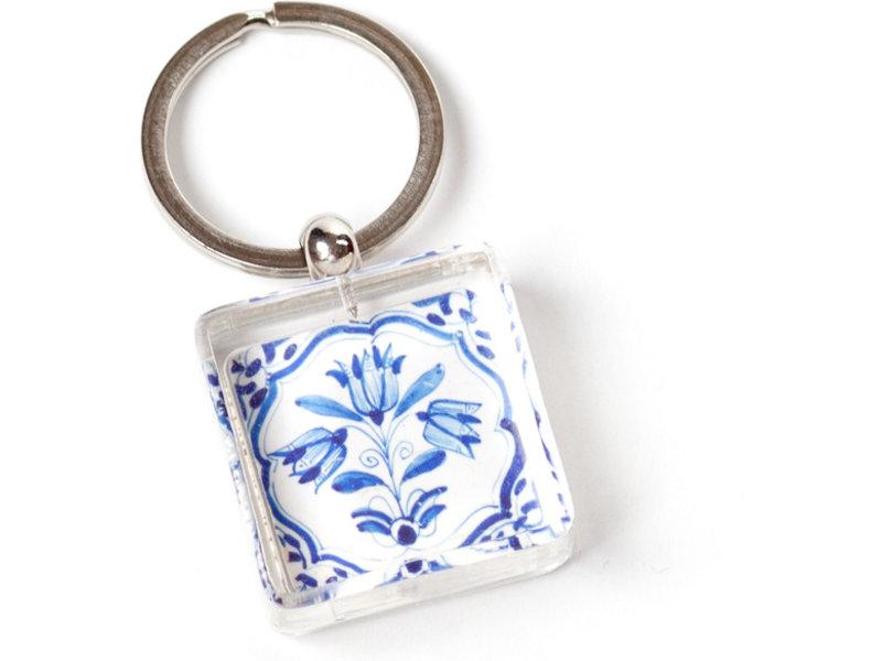 Sleutelhanger in geschenkverpakking, Delfts blauwe tegel, Drie blauwe tulpen