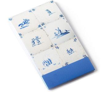 Notelet, sechs blaue Delfter Fliesen