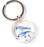Porte-clés dans une boîte cadeau, carrelage bleu de Delft, deux oiseaux