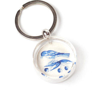 Llavero en caja de regalo, azulejo azul de Delft, dos pájaros