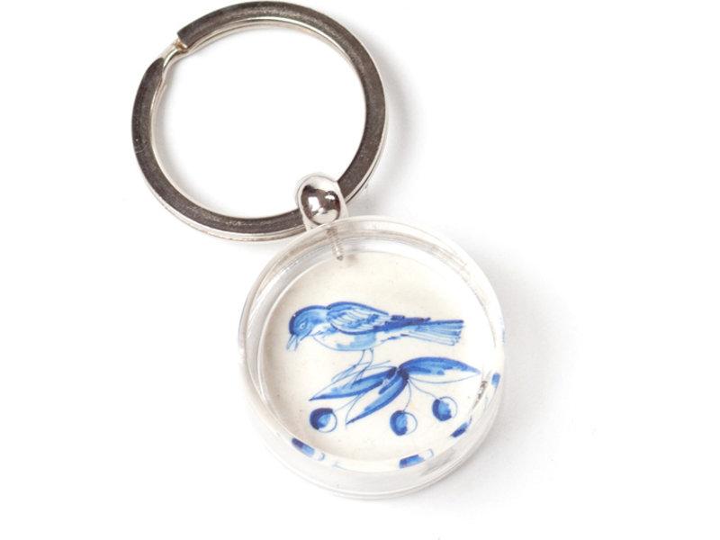 Schlüsselbund in Geschenkbox, Delfter blaue Fliese, Zwei Vögel