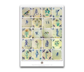 Poster, 50 x 70 , Delfts blauwe tegels