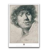 Affiche, 50 x 70, Autoportrait au visage curieux, Rembrandt