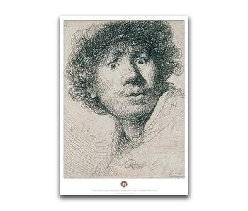 Plakat, 50 x 70, Selbstporträt mit neugierigem Gesicht, Rembrandt