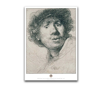 Poster, 50 x 70, Self-portrait with curious face, Rembrandt