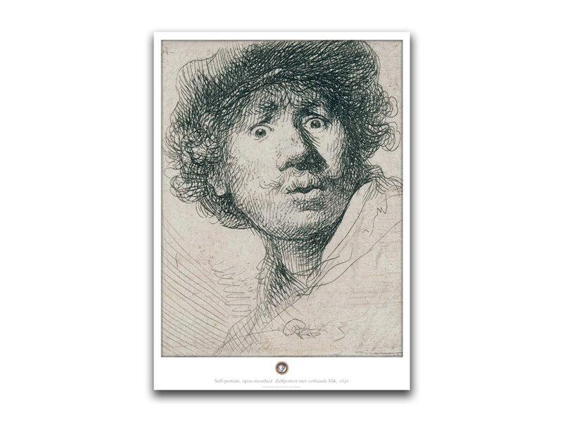 Poster, 50 x 70 cm , Zelfportret met verbaasde blik ,Rembrandt