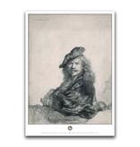Affiche, 50 x 70 cm, Autoportrait appuyé sur un rebord de pierre, Rembrandt