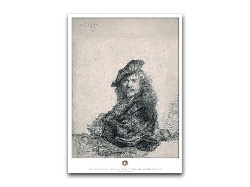 Poster, 50 x 70 cm ,Zelfportret leunend op stenen dorpel , Rembrandt