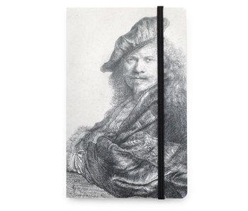 Cuaderno de tapa blanda A6, autorretrato, apoyado en una piedra, Rembrandt