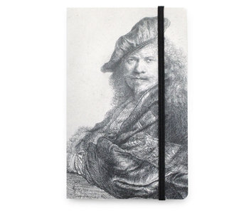 Softcover notitieboekje A6, Zelfportret, leunend op een steen, Rembrandt
