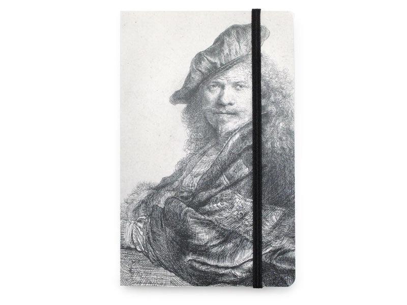 Softcover-Notizbuch, Selbstporträt, auf einen Stein gestützt, Rembrandt