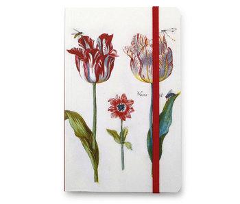 Softcover-Notizbuch A6, Vier Tulpen mit Insekten, Marrel