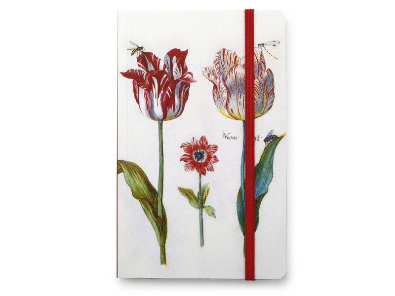 Softcover-Notizbuch, Vier Tulpen mit Insekten, Marrel