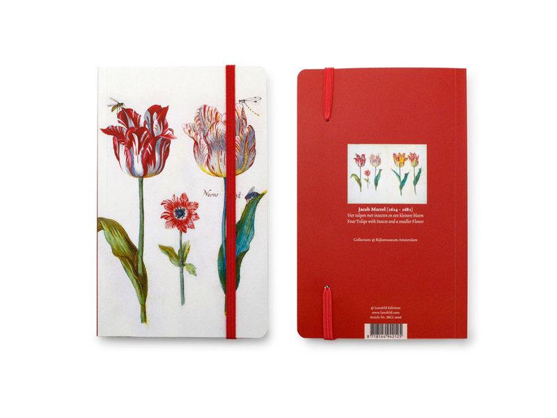 Carnet à couverture souple, Quatre tulipes avec insectes, Marrel