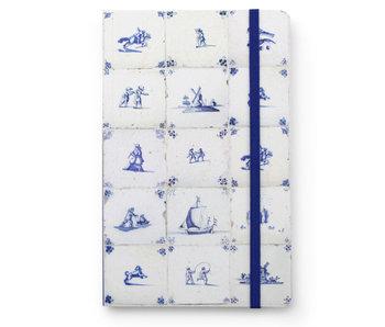 Cuaderno de tapa blanda A6, azulejos azules de Delft