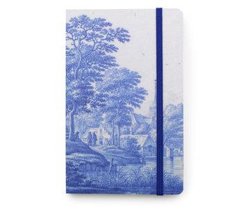 Cuaderno de tapa blanda A6, paisaje holandés del río en azul de Delft