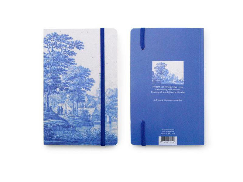 Softcover-Notizbuch, niederländische Flusslandschaft in Delfter Blau
