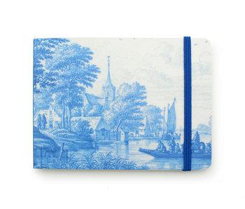 Cuaderno de bocetos, paisaje holandés del río en azul de Delft, Frytom