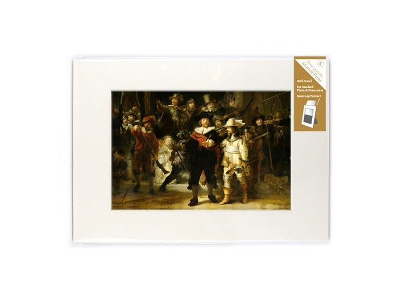 Passe-partout met reproductie, L, De Nachtwacht, Rembrandt