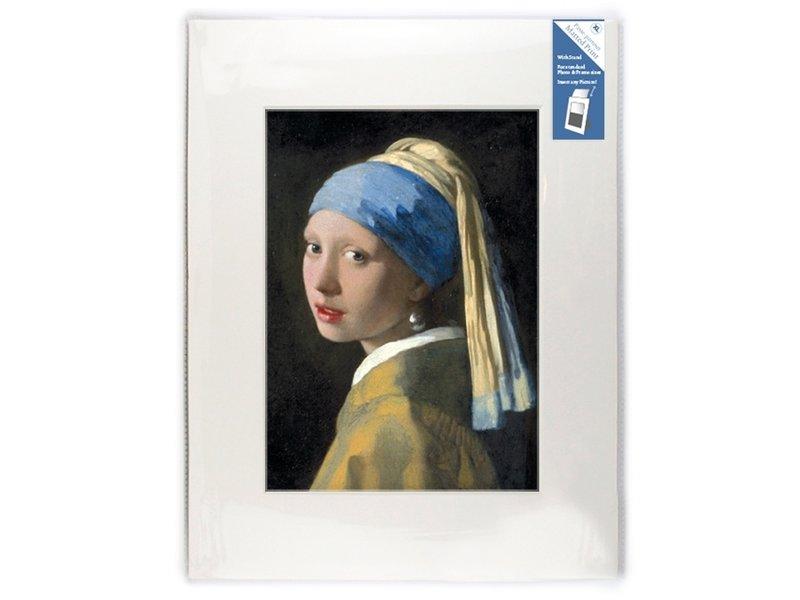 Passe-partout, XL, 40 x 30 cm, niña con un pendiente de perlas